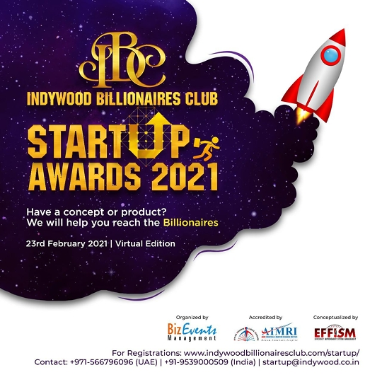 Aries International Maritime Research Institute (AIMRI) In Association With Indywood Billionaires Club Announces The Maiden Edition Of Indywood Billionaires Club Startup Awards 2021